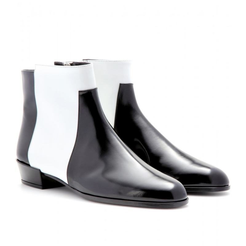 Black And White Ankle Boots - Boot Hto